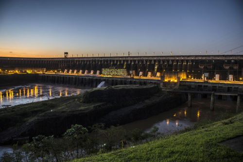 Itaipú Dam at night. Source:Itaipú Binacional